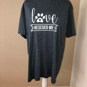 """Love Rescued Me"" gray t-shirt, size XL"